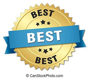 best 3d gold badge with blue ribbon