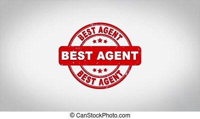 Best Agent Signed Stamping Text Wooden Stamp Animation. Red Ink on Clean White Paper Surface Background with Green matte Background Included.