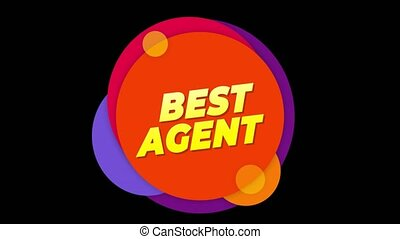 Best Agent Text Flat Sticker Colorful Popup Animation.