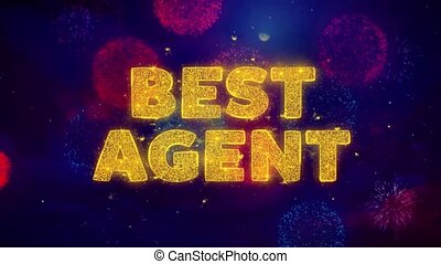Best Agent Text on Colorful Ftirework Explosion Particles.