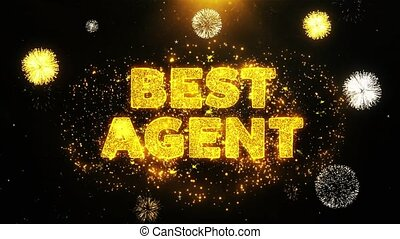 Best Agent Text on Firework Display Explosion Particles. Sale, Discount Price, Off Deals, Offer promotion offer percent discount ads 4K Loop Animation.