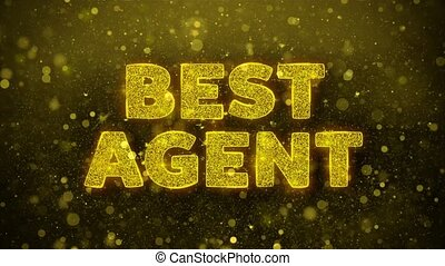 Best Agent Text Golden Glitter Glowing Lights Shine Particles. Sale, Discount Price, Off Deals, Offer promotion offer percent discount ads 4K Loop Animation.