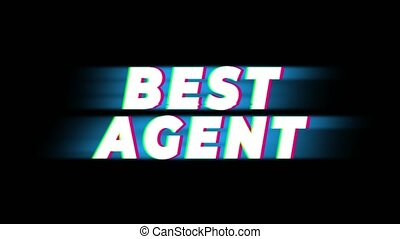 Best Agent Text Glitch Effect Promotion Advertisement Loop Background. Price Tag, Sale, Discounts, Deals, Special Offers, Green Screen and Alpha Matte