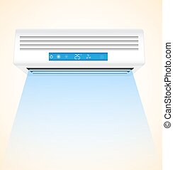 Best Air Conditioner Realistic on Wall Background. Vector Illustration