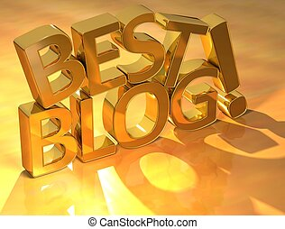 Best Blog Gold Text over yellow background