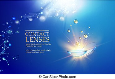 Best blue contact lenses for your eye health. Awesome medical illustration with vitamin drops over blue science background and text place at the top of image.