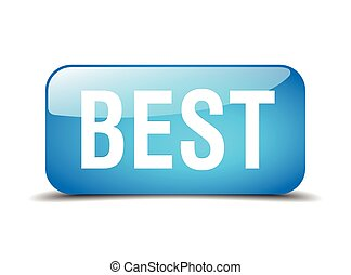 best blue square 3d realistic isolated web button