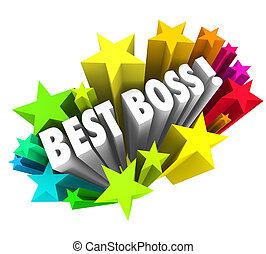 Best Boss Words Stars Celebrate Top Leader Manager Employer Exec