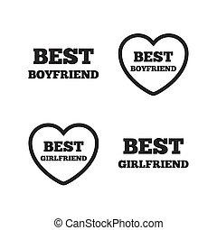 Best boyfriend and girlfriend icons. Heart love signs. Award...
