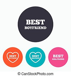 Best boyfriend and girlfriend icons. Heart love signs. Award symbol. Circle flat buttons with icon.