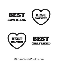 Best boyfriend and girlfriend icons. Heart love signs. Award symbol. Flat icons on white. Vector
