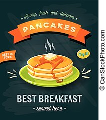 Best breakfast - chalkboard restaurant sign. Chalk styled...