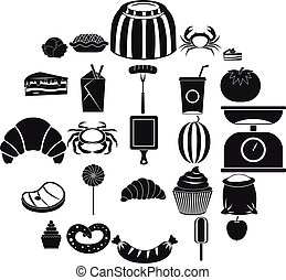 Best breakfast icons set, simple style