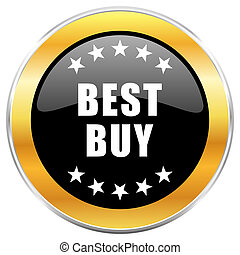 Best buy black web icon with golden border isolated on white background. Round glossy button.