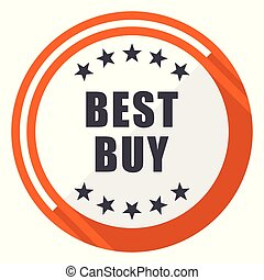Best buy flat design orange round vector icon in eps 10