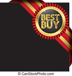Best buy golden label with red ribb