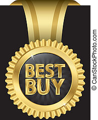 Best buy golden label with ribbons,