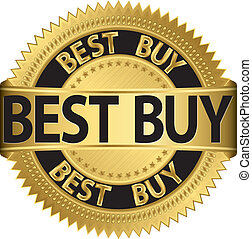 Best buy golden label,vector illustration