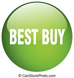 best buy green round gel isolated push button