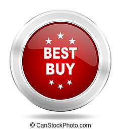 best buy icon, red round glossy metallic button, web and mobile app design illustration
