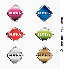 Best buy icon tag set vector