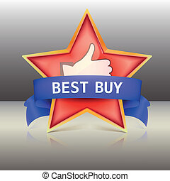 Best buy label with red star and ribbons, vector illustration