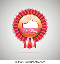 Best buy label with ribbons, vector illustration