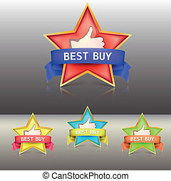 Best buy label with stars and ribbons, vector illustration