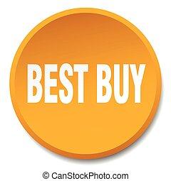 best buy orange round flat isolated push button