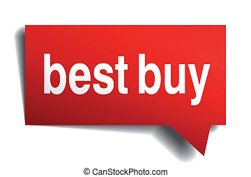 Best buy red 3d realistic paper speech bubble isolated on white
