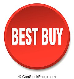 best buy red round flat isolated push button
