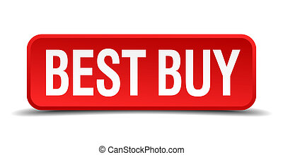 best buy red three-dimensional square button isolated on white background