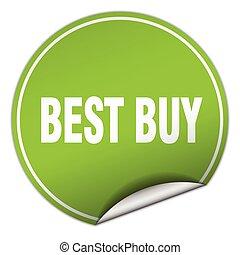 best buy round green sticker isolated on white