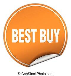 best buy round orange sticker isolated on white