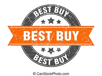 best buy round stamp with orange ribbon. best buy