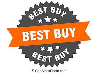 best buy sign. best buy orange-black circular band label