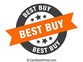 best buy sign. best buy orange-black round ribbon sticker
