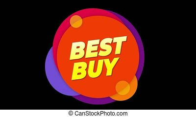 Best Buy Text Sticker Colorful Sale Popup Animation.
