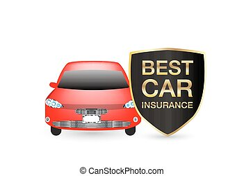 best car insurance shield logo with red car