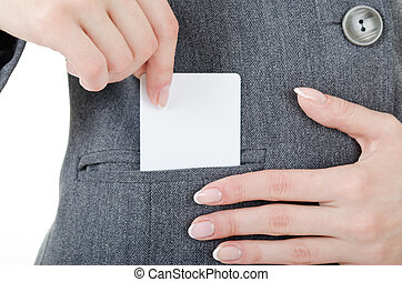 best card - women's hands and an empty plastic card is very...