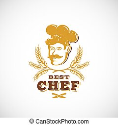 Best Chef Abstract Vector Sign, Symbol or Logo Template. Retro Award Emblem. Cook Face in a Hat with Spicas and Typography.