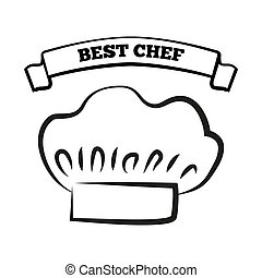 Best Chef and Hat Sketch, Vector Illustration
