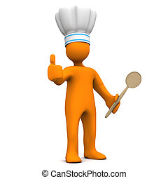 Best Chef - Orange cartoon character with chef's cap,...
