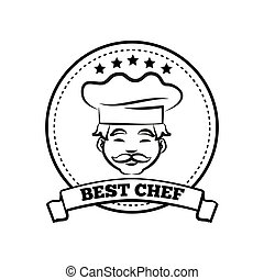 Best Chef Poster Sketch Text Vector Illustration