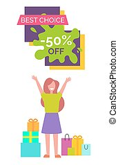 Best Choice -50 with Woman Vector Illustration