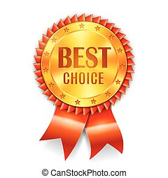 Best Choice Award - Golden best choice award medal with red...