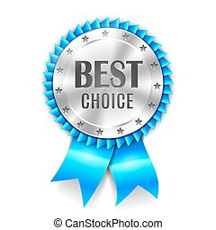 Best Choice Award - Silver best choice award medal with blue...
