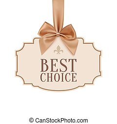 Best choice banner with golden ribbon.
