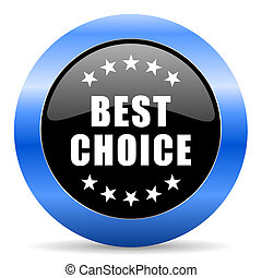 Best choice black and blue web design round internet icon with shadow on white background.