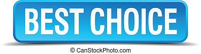 best choice blue 3d realistic square isolated button